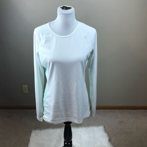 Alo Yoga White And Green Athletic Top